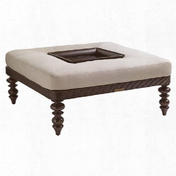 Tommy Bahama Black Sands Patio Coffee Table Ottoman In Taupe