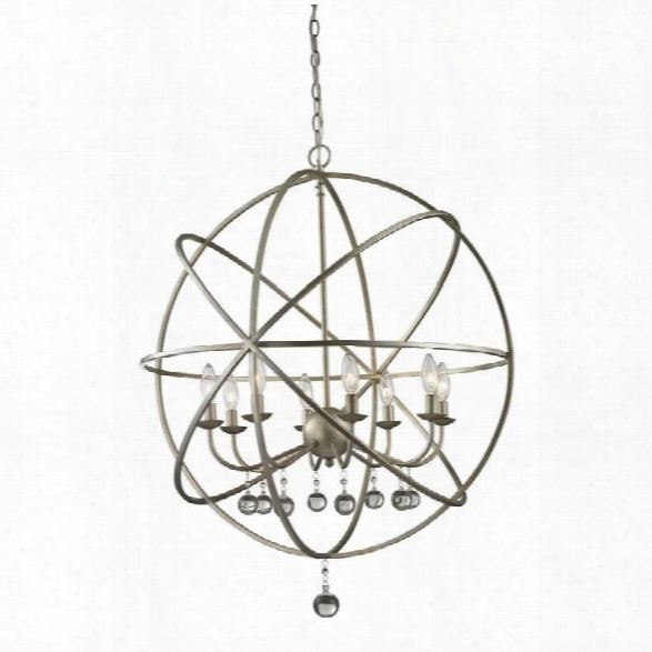 Z-lite Acadia 8 Light Pendant In Antique Silver And Clear Crystal