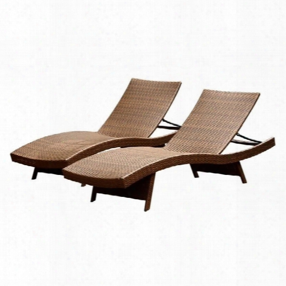 Abbyson Living Palermo Outdoor Wicker Chaise In Brown (set Of 2)