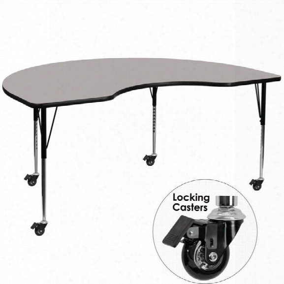 Flash Furniture 31 X 96 Kidney-shaped High Pressure Top Mobile Activity Table In Gray