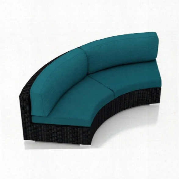 Harmonia Living Urbana Curved Patio Loveseat In Peacock