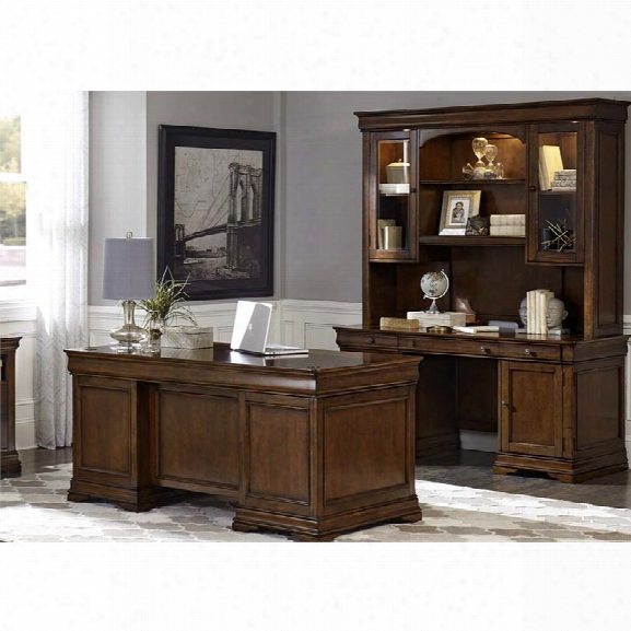 Liberty Furniture Chateau Valley 3 Piece Home Office Set In Cherry