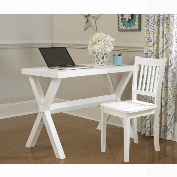 Ne Kids Pulse Trestle Base Writing Desk With Chair In White