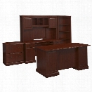 Kathy Ireland by Bush Bennington 4 Piece Office Set in Harvest Cherry