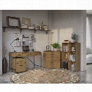 Kathy Ireland by Bush Ironworks 4 Piece Office Set in Golden Pine