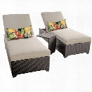 TKC Classic 2 Wicker Patio Lounges With Side Table in Beige