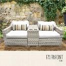 TKC Fairmont 3 Piece Patio Wicker Loveseat in White
