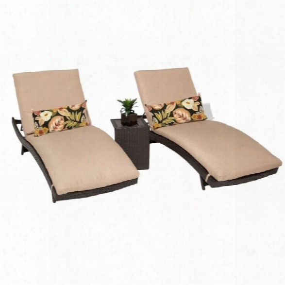 Tkc Bali 2 Wicker Patio Lounges With Side Table In Wheat