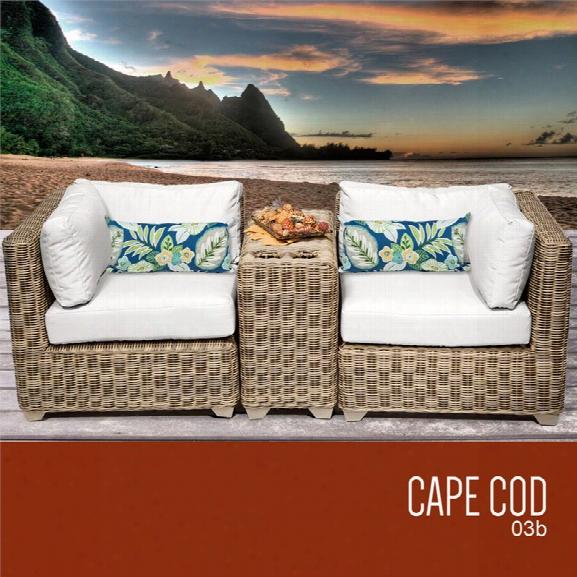 Tkc Cape Cod 3 Piece Patio Wicker Loveseat In White