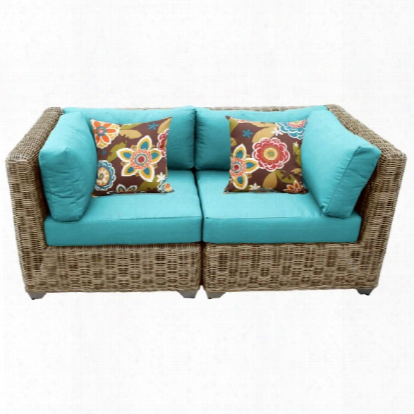 Tkc Cape Cod Patio Wicker Loveseat In Turquois E