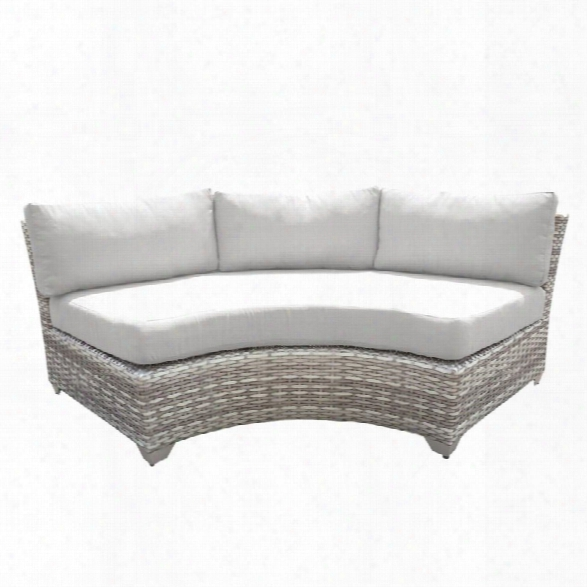 Tkc Fairmont Curved Armless Patio Sofa In White (set Of 2)
