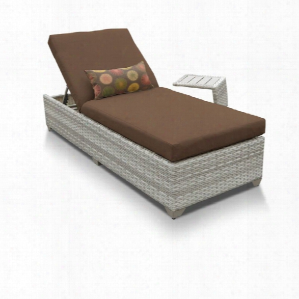 Tkc Fairmont Patio Chaise Lounge With Side Table In Dark Brown