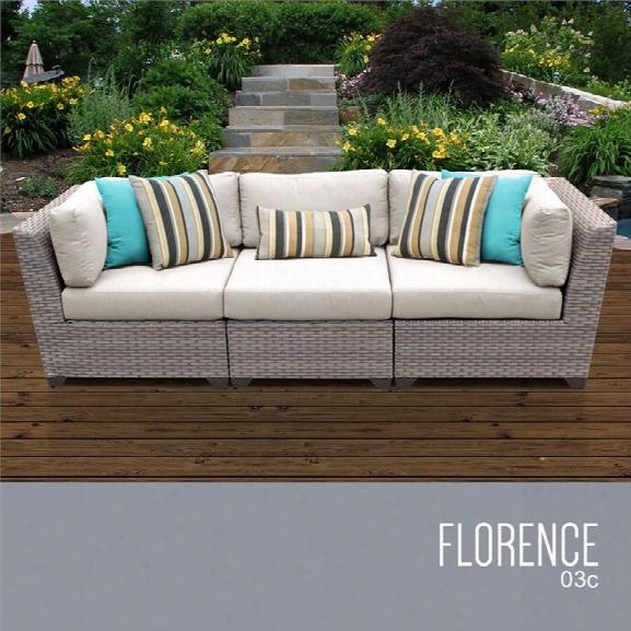 Tkc Florence 3 Piece Patio Wicker Sofa In Beige