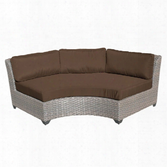 Tkc Florence Curved Armless Patio Sofa In Dark Brown (set Of 2)