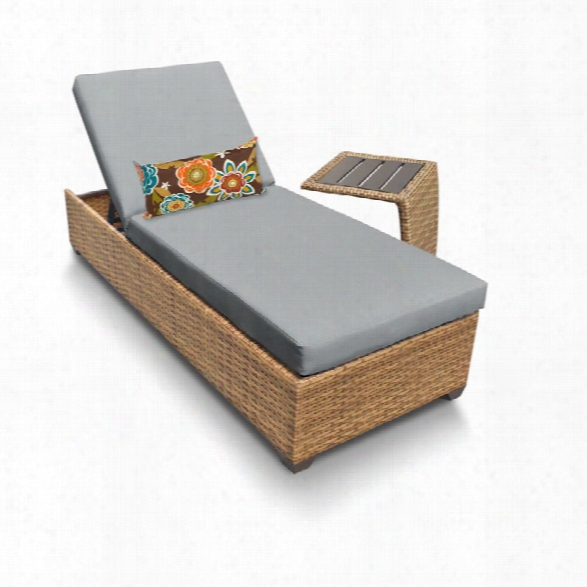 Tkc Laguna Patio Chaise Lounge With Side Table In Gray
