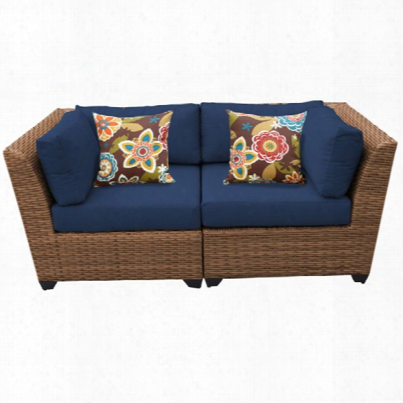 Tkc Laguna Patio Wicker Loveseat In Navy