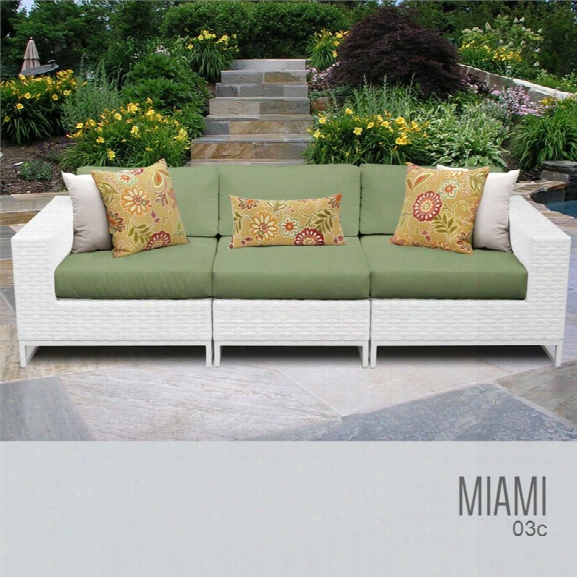 Tkc Miami 3 Piece Patio Wicker Sofa In Green