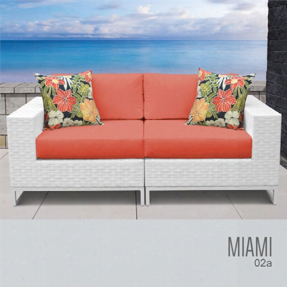 Tkc Miami Patio Wicker Loveseat In Orange