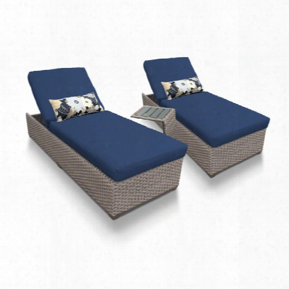 Tkc Oasis 3 Piece Patio Chaise Lounge Set In Navy