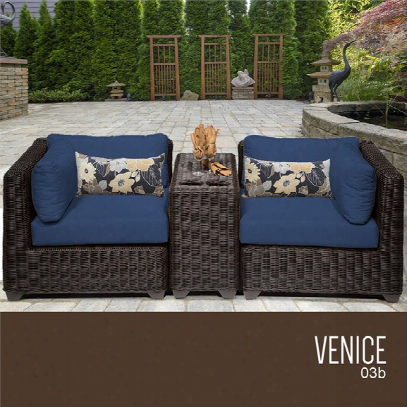 Tkc Venice 3 Piece Patio Wicker Loveseat In Navy