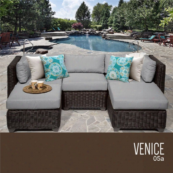 Tkc Venice 5 Piece Patio Wicker Sectional In Gray