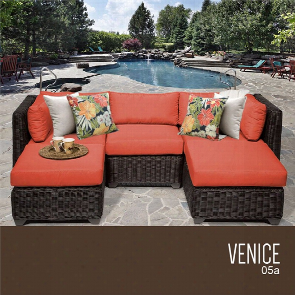 Tkc Venice 5 Piece Patio Wicker Sectional In Orange