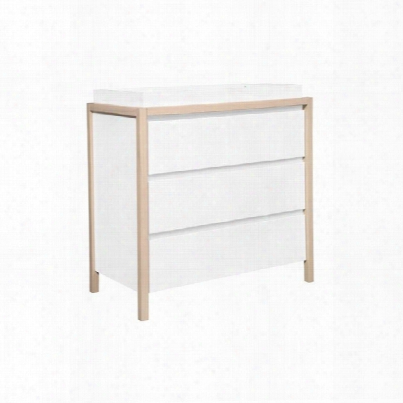 Babyletto Bingo 3 Drawer Changer Dresser In White And Washed Natural