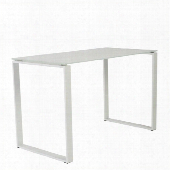 Eurostyle Diego Desk 48x24 Glass In Pure White And White