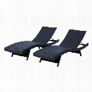 Abbyson Living Redondo Outdoor Wicker Chaise in Black (Set of 2)