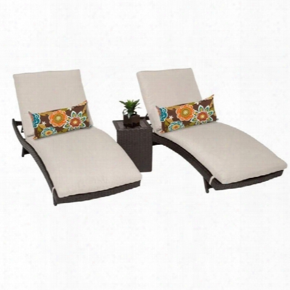 Tkc Bali 2 Wicker Patio Lounges With Side Table In Beige