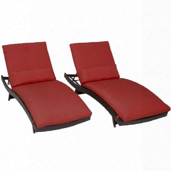 Tkc Bali Wicker Patio Lounges In Terracotta (set Of 2)