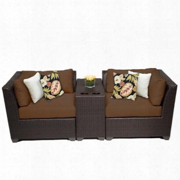 Tkc Barbados 3 Piece Outdoor Wicker Sofa Set In Cocoa