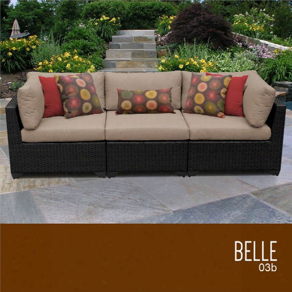 Tkc Belle 3 Piece Patio Wickker Sofa In Wheat