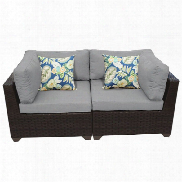 Tkc Belle Patio Wicker Loveseat In Gray