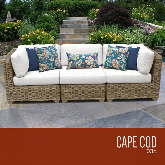 Tkc Cape Cod 3 Piece Patio Wicker Sofa In White