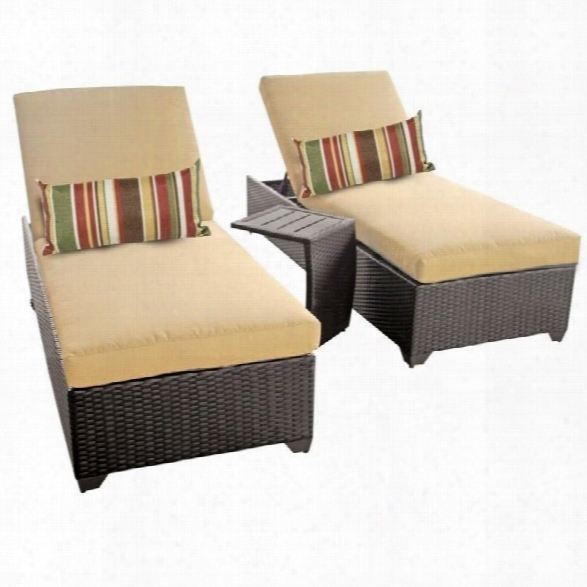 Tkc Classic 2 Wicker Patio Lounges With Side Table In Sesame