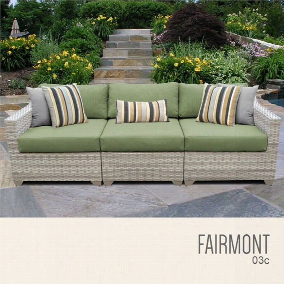 Tkc Fairmont 3 Piece Patio Wicker Sofa In Green