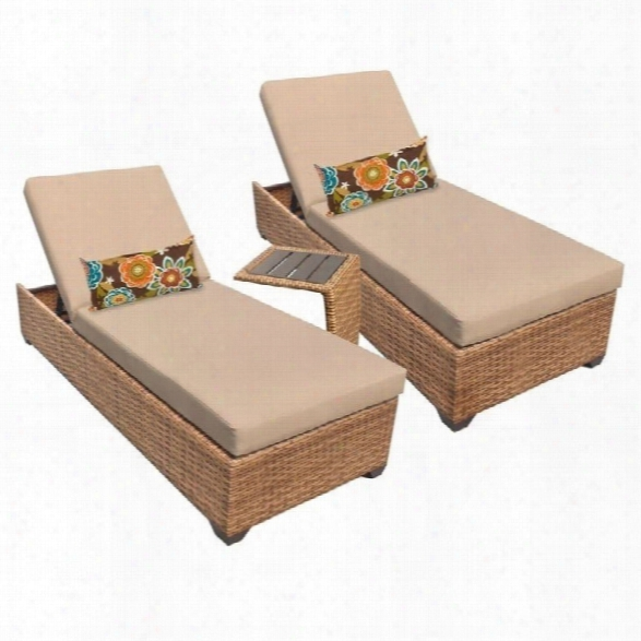 Tkc Laguna 2 Wicker Patio Lounges With Side Table In Wheat