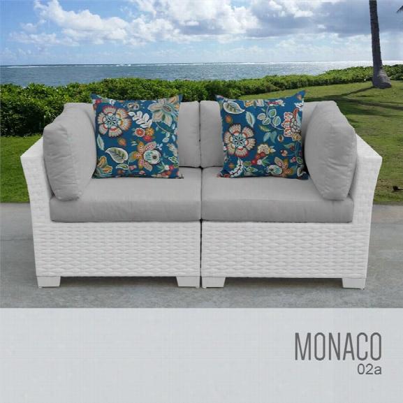 Tkc Monaco Patio Wicker Loveseat In Gray