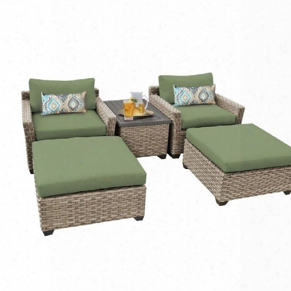 Tkc Monterey 5 Piece Outdoor Wicker Sofa Set In Cilantro