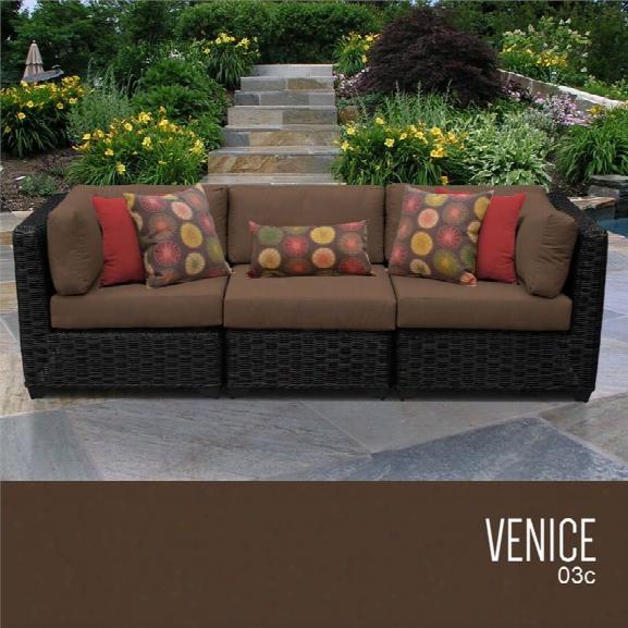 Tkc Venice 3 Piece Patio Wicker Sofa In Brown
