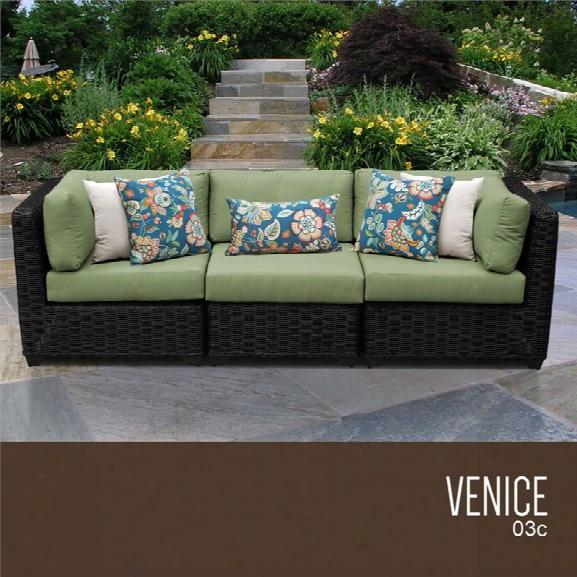 Tkc Venice 3 Piece Patio Wicker Sofa In Green