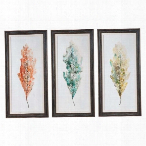 Uttermost Tricolor Leaves Abstract Art (set Of 3)