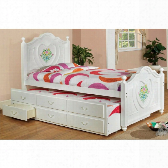 Furniture Of America Anastasia Win Platform Bed With Trundle In White
