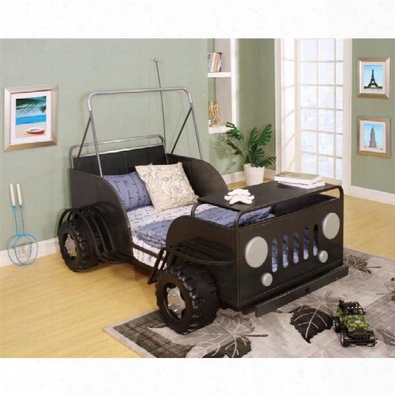 Furniture Of America Trooper Twin Metal Car Bed In Gun Metal