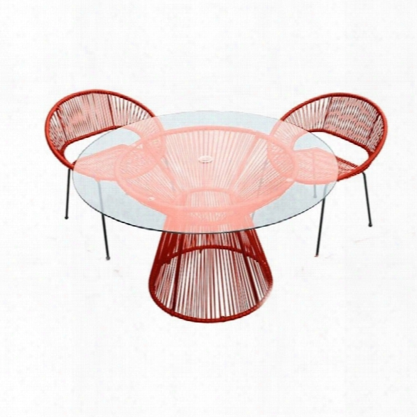 Harmonia Living Acapulco Round Patio Dining Table In Atomic Tangerine