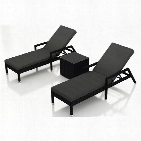 Harmonia Living Urbana 3 Piece Patio Lounge Set In Charcoal