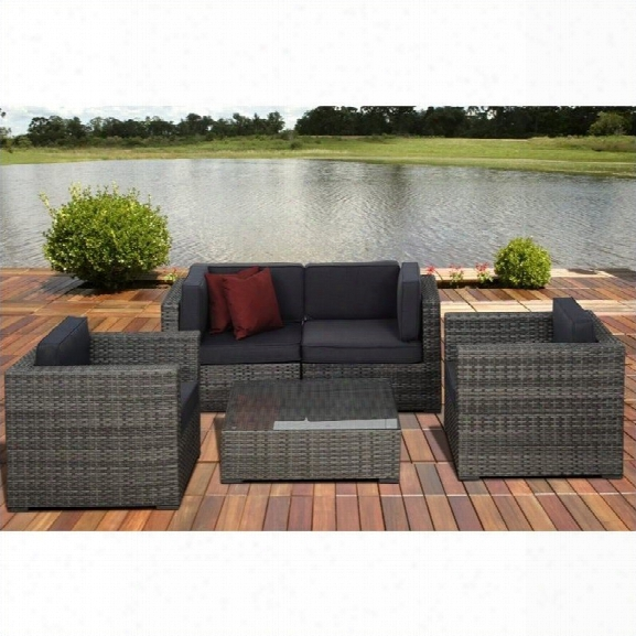 Metz 5 Pc Wicker Seating Set In Grey With Grey Cushions