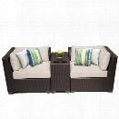 TKC Barbados 3 Piece Outdoor Wicker Sofa Set in Beige