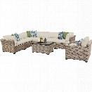 TKC Monterey 8 Piece Outdoor Wicker Sofa Set in Beige